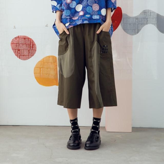 【MOSS CLUB】異材質拼接繡花寬版-女長褲 拼接 藍 綠 咖(三色/版型寬大)