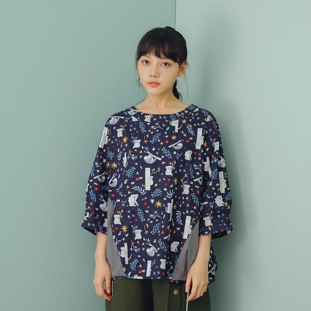 【MOSS CLUB】樹懶印花剪接-女七分袖襯衫 印花 藍 綠 白(三色/魅力商品/版型合身)