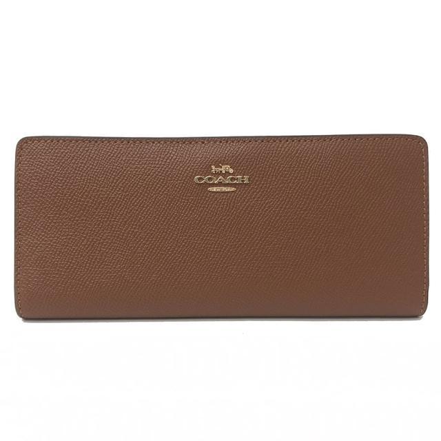 【COACH】多卡片夾層零錢袋薄型長夾(焦糖)