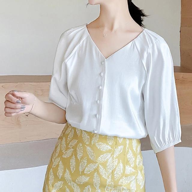 【良池】法式單排扣V領泡泡袖上衣(襯衫、T恤、防曬)
