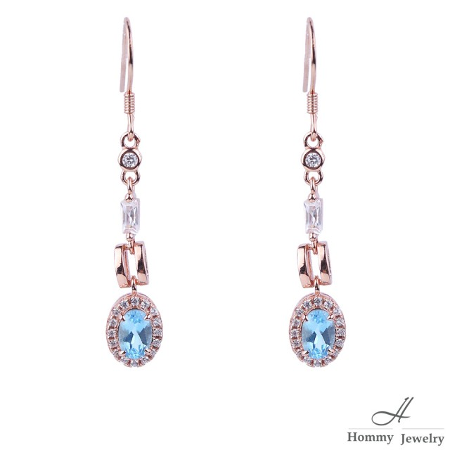 【幸福珠寶】『沙的搖曳』 5A頂級天然托帕石方鎖設計款耳環