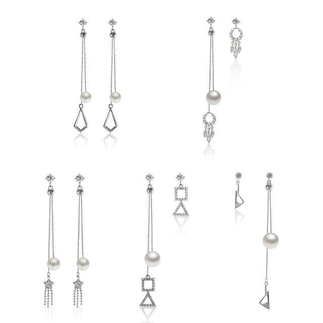 【大東山珠寶】日本AKOYA天然海水珍珠純銀垂墬耳環5選1(日本AKOYA海水珍珠)