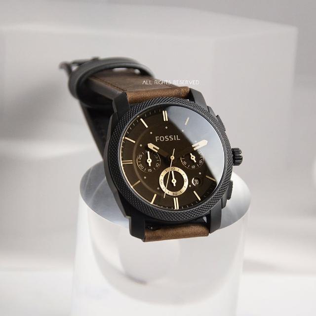 【FOSSIL】黑框 咖啡色面 三眼計時 咖啡色皮革錶帶 父親節禮物首選(FS4656)