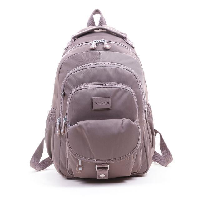 【VIVI SECRET】素色休閒防潑水多隔層手提/後背包(藕粉色 大容量後背包)