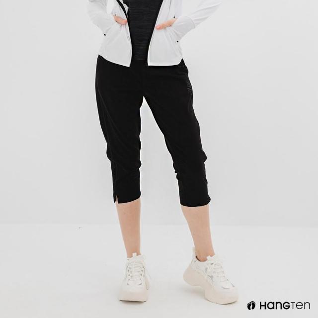 【Hang Ten】女裝-恆溫多功能-REGULAR FIT標準四向彈力吸濕快乾抗曬七分運動長褲-黑