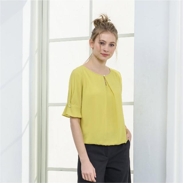 【KiKi】圓領水滴造型雪紡衫-女短袖襯衫 圓領 白 黃(二色/版型合身)