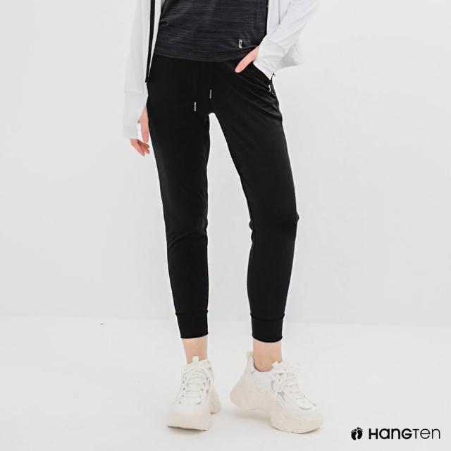 【Hang Ten】女裝-恆溫多功能-REGULAR FIT標準鳥眼吸排紗涼感抗菌除臭運動長褲-黑