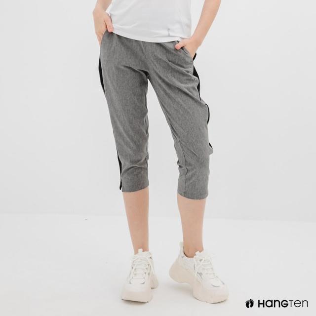 【Hang Ten】女裝-恆溫多功能-REGULAR FIT標準四向彈力吸濕快乾抗曬七分運動長褲-深花紗灰