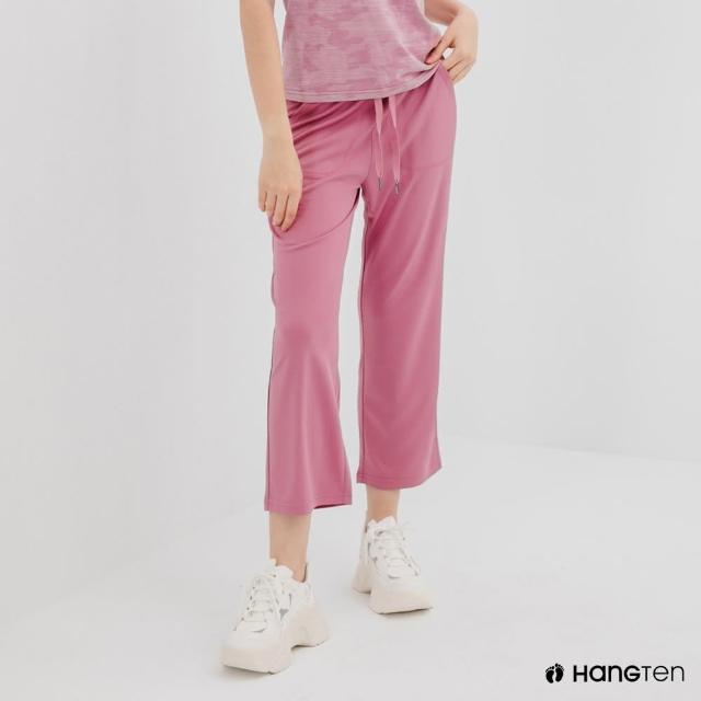 【Hang Ten】女裝-恆溫多功能-REGULAR FIT標準鳥眼吸排紗涼感抗菌除臭九分運動長褲-淺灰紫