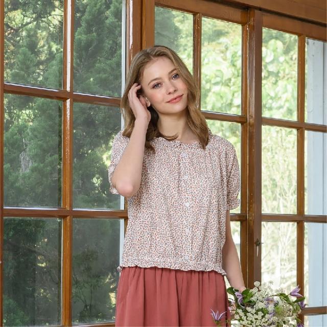 【KiKi】荷葉碎花棉質-女短袖襯衫 碎花 桔 黃(二色/版型合身)