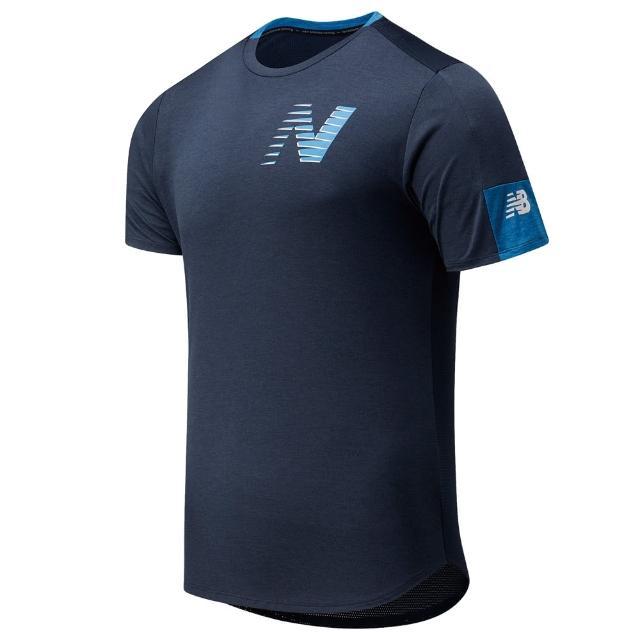【NEW BALANCE】上衣 男款 短袖上衣 運動 慢跑 健身 ICE短袖上衣 藍 AMT11241EM1
