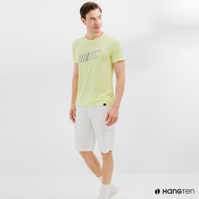 【Hang Ten】男裝-恆溫多功能-環保寶特瓶回收紗HEIQ吸濕感溫印花短袖T恤-淺黃