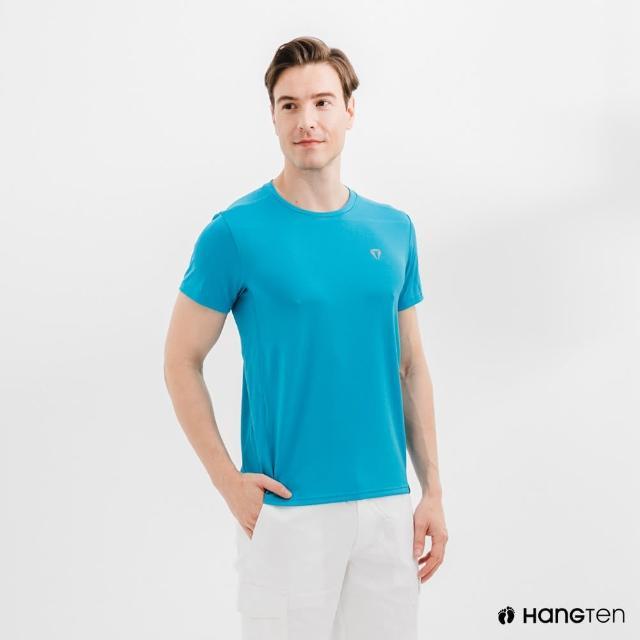 【Hang Ten】男裝-恆溫多功能-環保寶特瓶回收紗HEIQ吸濕感溫印花短袖T恤-藍