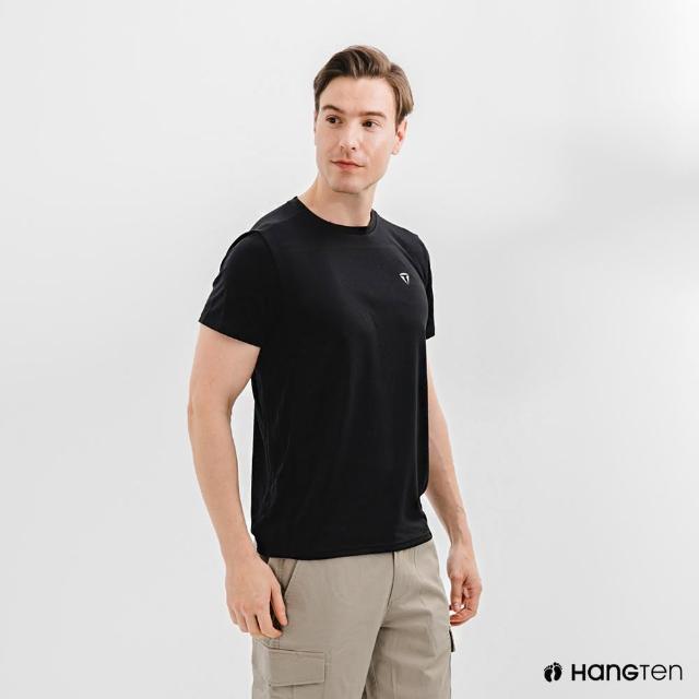 【Hang Ten】男裝-恆溫多功能-環保寶特瓶回收紗HEIQ吸濕感溫印花短袖T恤-黑