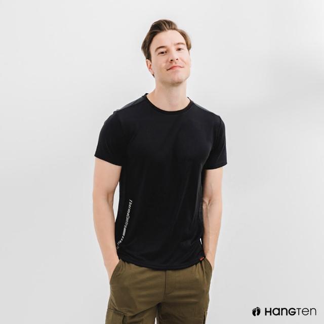【Hang Ten】男裝-恆溫多功能-環保寶特瓶回收紗HEIQ吸濕感溫印花短袖T恤-灰黑