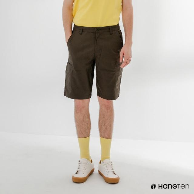 【Hang Ten】男裝-REGULAR FIT口袋短褲-深灰綠