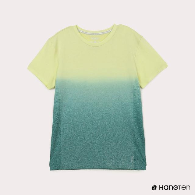 【Hang Ten】男裝-恆溫多功能-銀纖維無縫涼感抗菌除臭漸層短袖T恤-黃