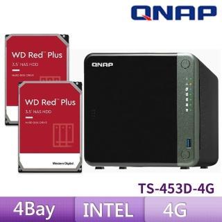 【搭WD 紅標 4TB x2】QNAP 威聯通 TS-453D-4G 4Bay 網路儲存伺服器