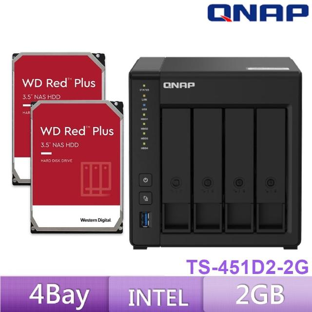 【搭WD 紅標 4TB x2】QNAP 威聯通 TS-451D2-4G 4BAY 網路儲存伺服器