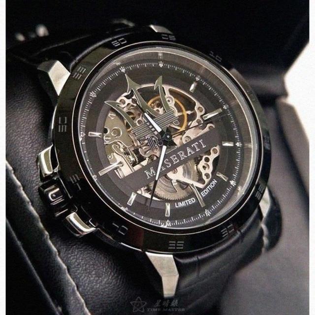 【MASERATI 瑪莎拉蒂】瑪莎拉蒂男女通用錶型號R8821119007(黑色錶面銀黑錶殼黑色真皮皮革錶帶款)