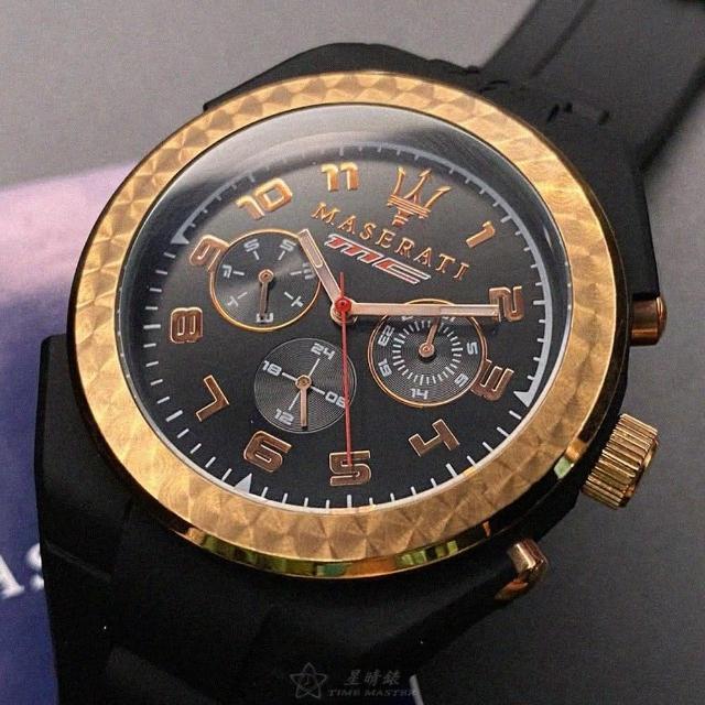 【MASERATI 瑪莎拉蒂】瑪莎拉蒂男女通用錶型號R8851115008(黑色錶面玫瑰金錶殼深黑色矽膠錶帶款)