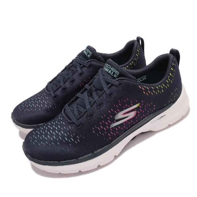 【SKECHERS】休閒鞋 Go Walk 6 郊遊 健走 女鞋 輕量 緩震 透氣 基本款 柔軟舒適 藍 彩(124520-NVMT)