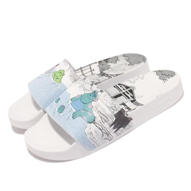 【adidas 愛迪達】拖鞋 Adilette Lite 皮克斯聯名 男女鞋 愛迪達 輕便 情侶穿搭 大眼仔 毛怪 白 藍(GX0995)
