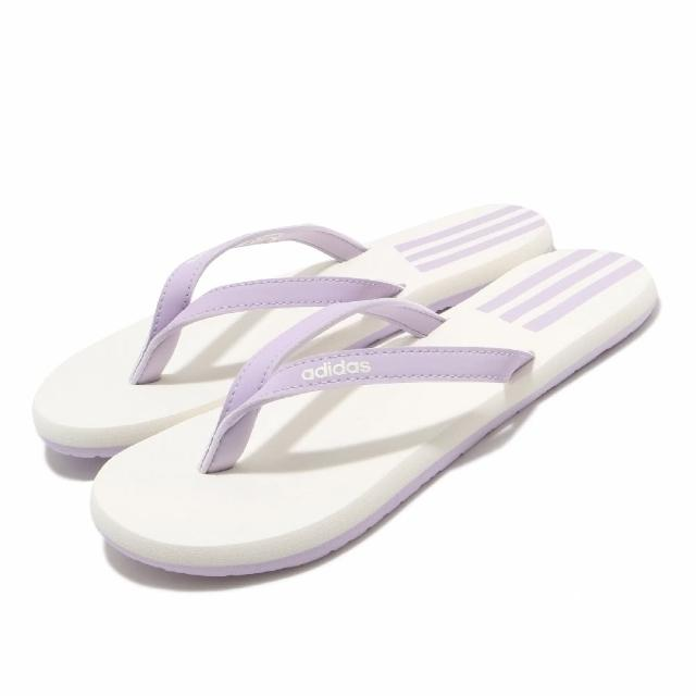 【adidas 愛迪達】夾腳拖 Eezay Flip Flop 套腳 女鞋 愛迪達 夏日 輕便 人字拖 舒適 紫 白(EG2037)