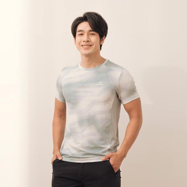 【EiDER】男排汗抗菌透氣涼爽配色短袖圓領衫 / 21EDMM21223-現代灰(抗菌透氣涼爽)