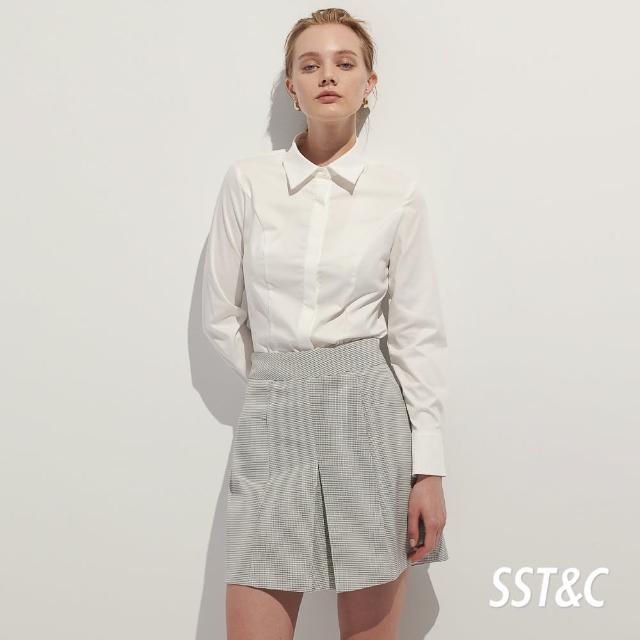 【SST&C】白色修身剪接襯衫7562105001