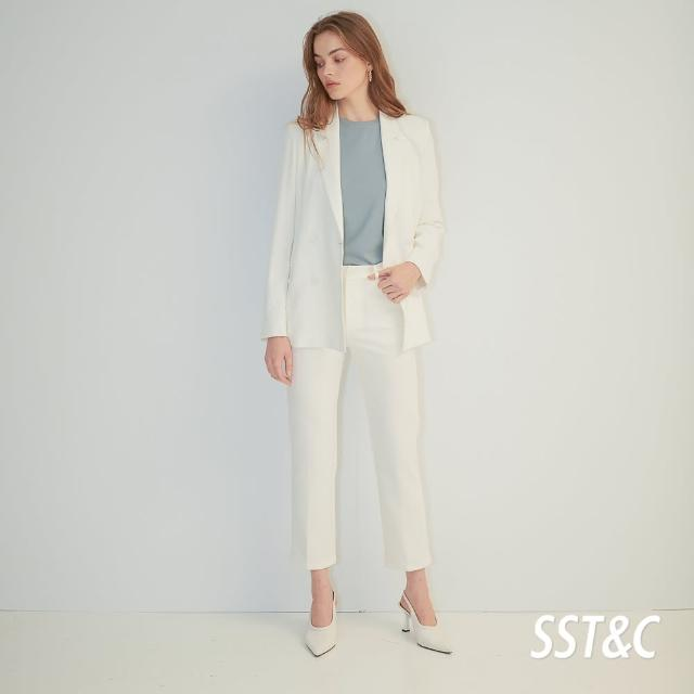 【SST&C】白色修身小直筒長褲8262103001