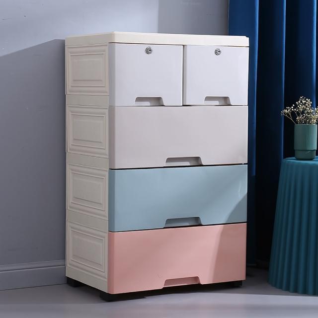 【居家生活Easy Buy】50CM馬卡龍儲物收納櫃-四層-兩小抽屜(床頭櫃 四斗櫃 收納櫃)
