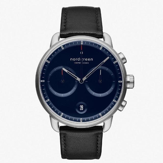 【Nordgreen】Pioneer北歐藍錶盤-極夜黑真皮(PI42SILEBLNA)