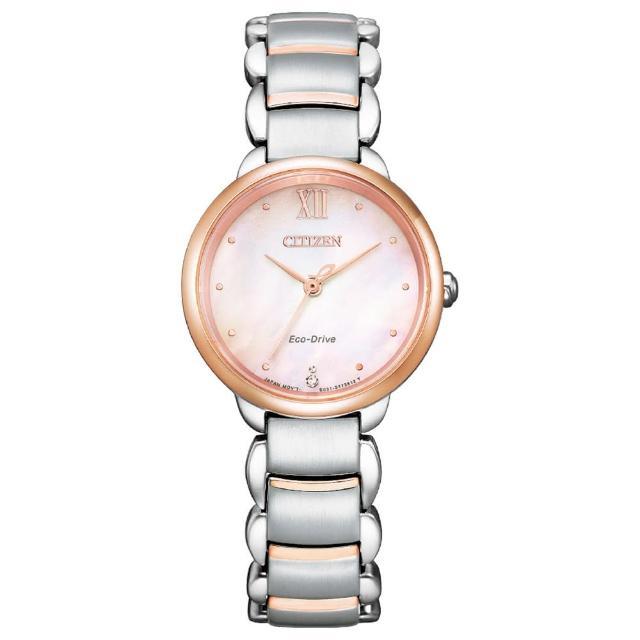 【CITIZEN 星辰】L系列 粉紅金優雅女錶粉樣不鏽鋼光動能錶28mm(EM0924-85Y)