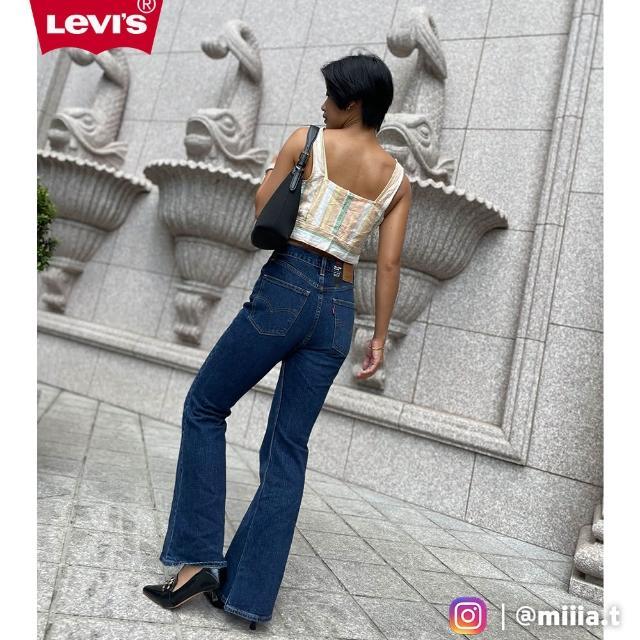 【LEVIS】女款 High Flare復古超高腰合身大寬管牛仔長褲 /精工深藍染水洗 /有機面料 /彈性-人氣新品