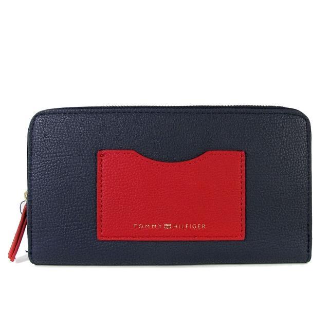 【Tommy Hilfiger】前口袋ㄇ型拉鍊長夾(海軍藍色)