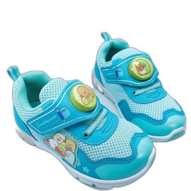 【樂樂童鞋】台灣製角落生物電燈運動鞋-湖水藍-B019-1(女童鞋 男童鞋 運動鞋)