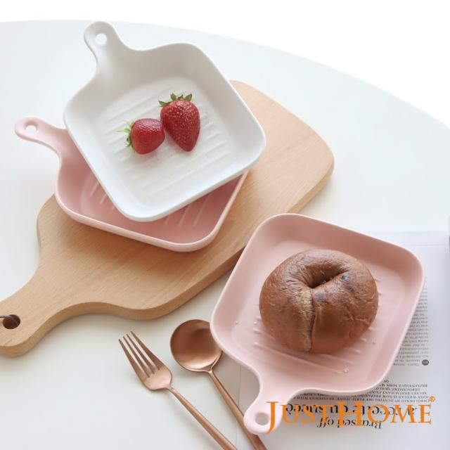 【Just Home】Just Home北歐璞真單柄陶瓷方型烤盤3入組 白色+粉色(陶瓷餐盤、烤盤、烤皿)