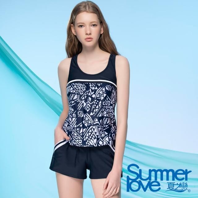 【Summer Love 夏之戀】泳衣 大女連身褲二件式-加大(E21710-05)