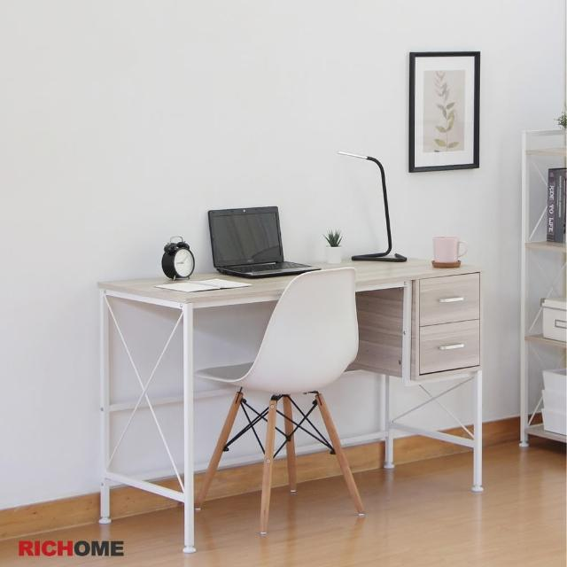 【RICHOME】奈特120CM北歐風雙抽屜工作桌/電腦桌/辦公桌/書桌(時尚白色款)