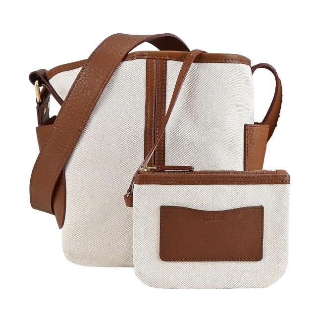 【agnes b.】拼接牛皮帆布水桶包-附手拿包(二色選)