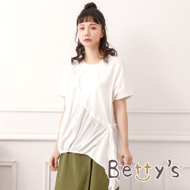 【betty's 貝蒂思】拼接繡花布抽荷葉上衣(白色)