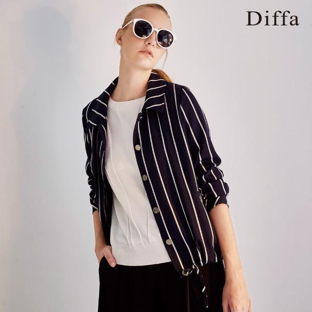 Diffa【Diffa】黑白條短版抽繩外套
