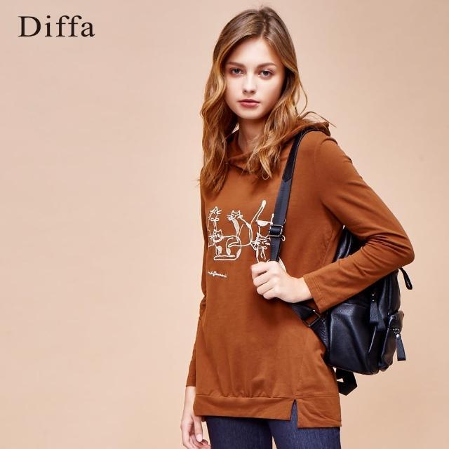 【Diffa】電繡設計圖案連帽上衣