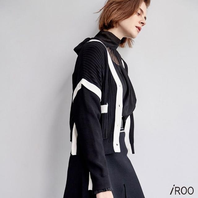 【iROO】撞色紋理針織外套