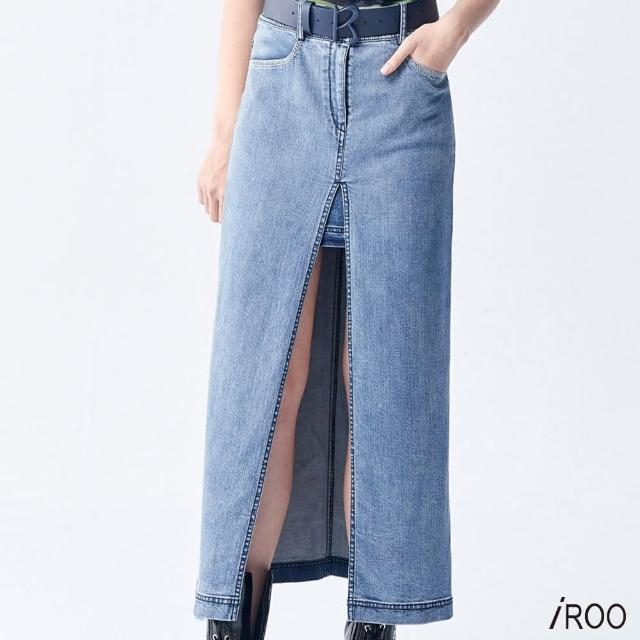 【iROO】開衩 牛仔長裙