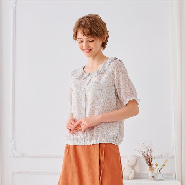 【KiKi】雙層荷葉碎花雪紡-女短袖襯衫 碎花 藍 黑(二色/版型適中)