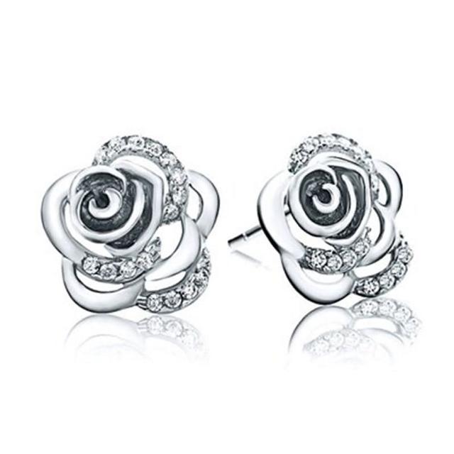 【米蘭精品】925純銀耳環鑲鑽耳飾(玫瑰花造型情人節生日禮物女飾品73dy49)