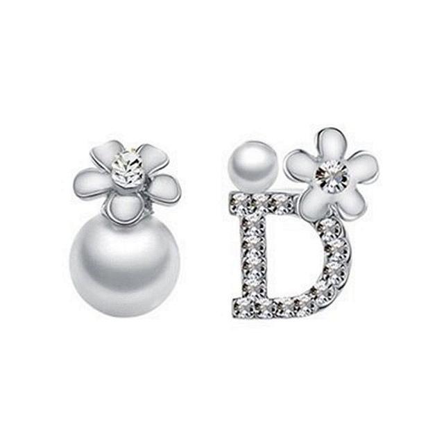 【米蘭精品】925純銀耳環鑲鑽耳飾(百搭不對稱造型情人節生日禮物女飾品73dy46)