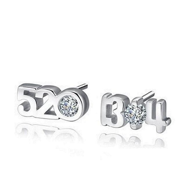 【米蘭精品】925純銀耳環鑲鑽耳飾(創意數字造型情人節生日禮物女飾品73dy44)